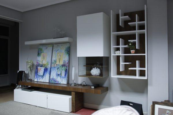 Mueble de salón en nogal y laca - Gorostidiideas